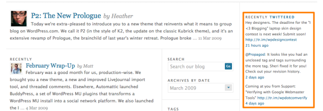 wordpress news blog twitter widget