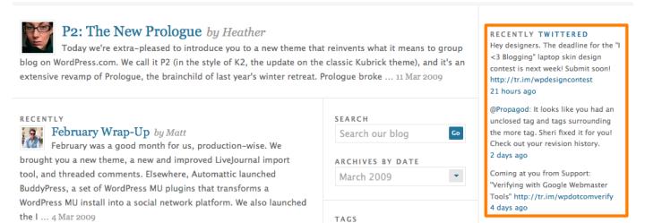 wordpress news blog twitter widget