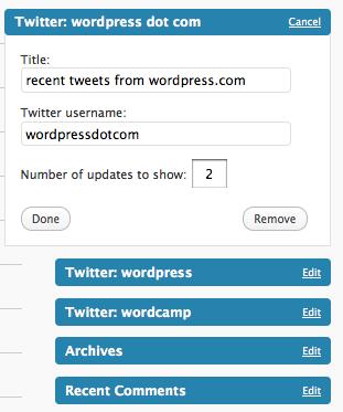 wordpress.com twitter widget