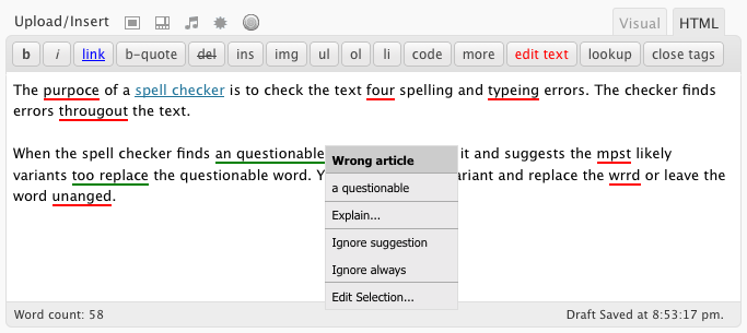 AtD checks spelling, style, and grammar in the HTML Editor too