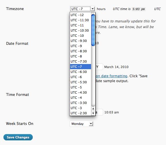 how to change timezone in wordpress