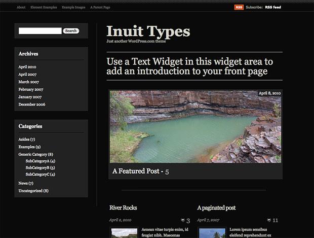 Inuit Types テーマのダークカラーバージョン