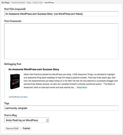 QuickPress Reblog