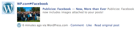 Facebook update with image from WordPress.com's Publicize feature