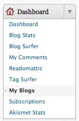 Screenshot: dashboard, my blogs