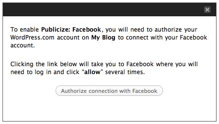 Screenshot: Publicize Facebook authorization message
