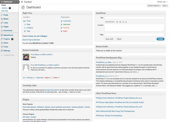 WordPress viewed in modern browser