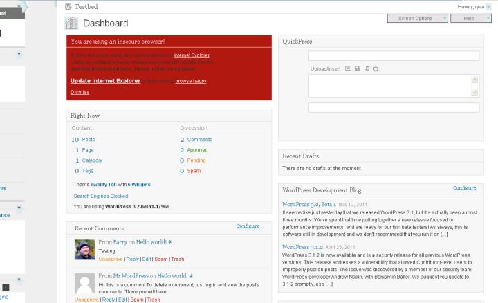 WordPress viewed in IE6 browser