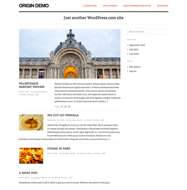 Screenshot of the Origin theme for WordPress.com