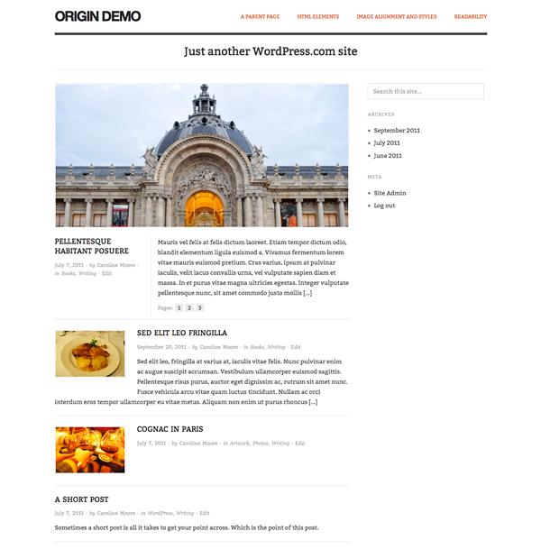 Screenshot of the Origin theme for WordPress.com