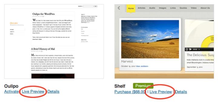 Theme browser screenshot