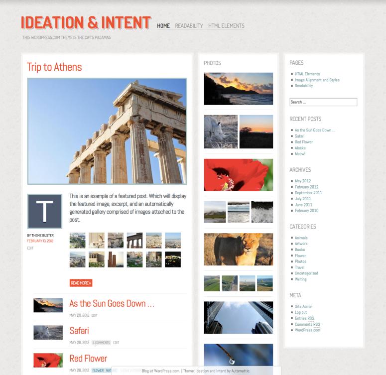 WordPress.com Ideation & Intent テーマのスクリーンショット