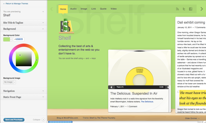 Previewer in action with Shelf theme