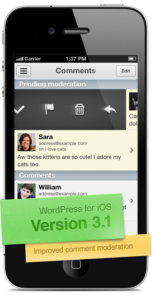 Screenshot of version 3.1 of WordPress for iOS, showing Improved Comment Moderation