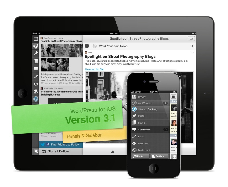 Screenshot of Version 3.1 of WordPress for iOS, showing Panels & Sidebar