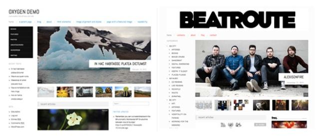 Oxygen と Beatroute のホームページレイアウト