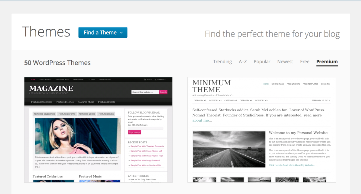 Unlimited choice from our selection of private themes
