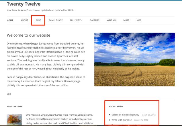 ブログを含むウェブサイトの例