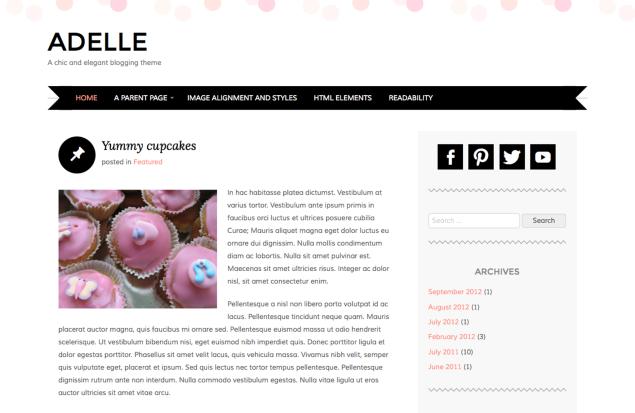 Adelle テーマのフロントページ