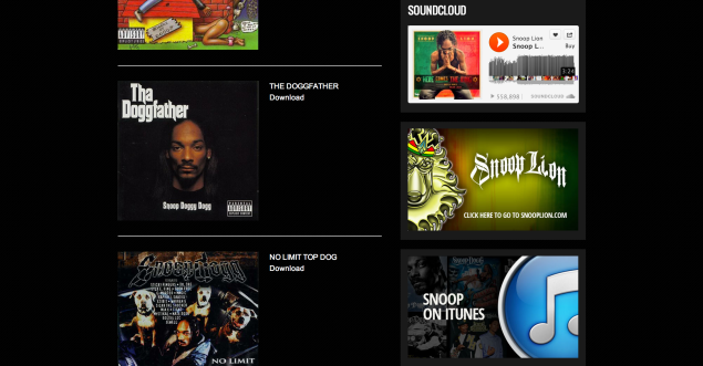 SnoopDogg.com Music page