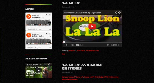 SnoopLion.com Music page