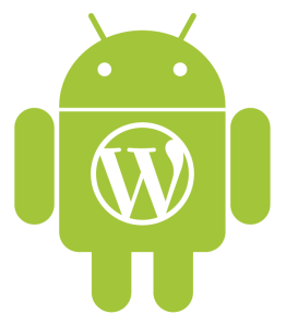 Android robot with WordPress logo