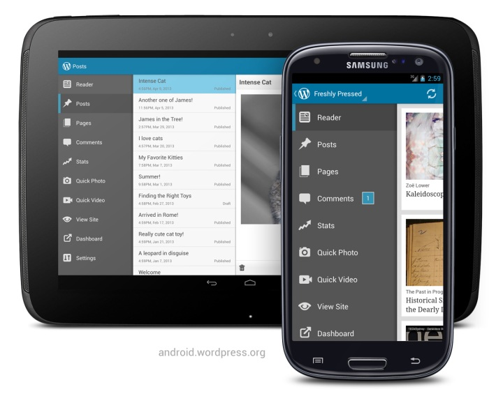 Version 2.3 of WordPress for Android: menu drawer on Google Nexus 10 and Samsung Galaxy S3