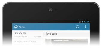 WordPress for Android 2.3: 新しいブルーのアクションバー