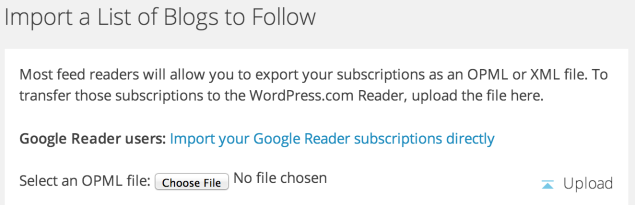 Reader Import page