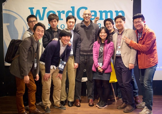 Philip with volunteers and fellow Automattician Naoko at WordCamp Seoul 2013