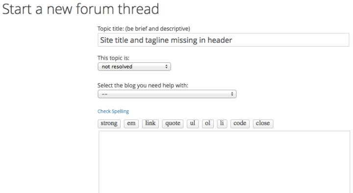 Start a new forum thread
