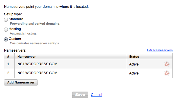 In your Domain Manager, you can manage your name servers for WordPress.com-registered domains.