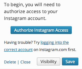 Authorize Instagram