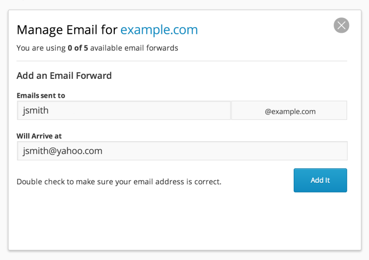 Screenshot of the Email Forwarding screen in the WordPress.com dashboard