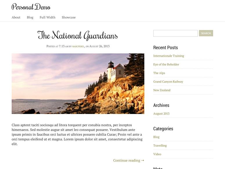 Personal テーマのホームページ