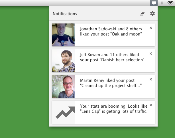 WordPress.com notifications as seen through the Chrome extension.