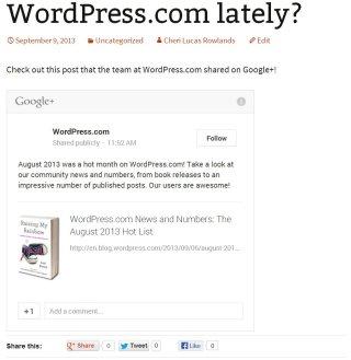 ブログに埋め込んだ Google+ 投稿の例