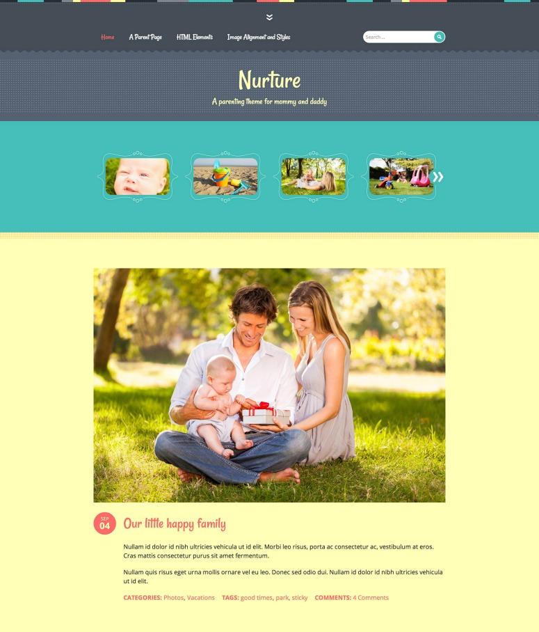 Nurture テーマのホームページ
