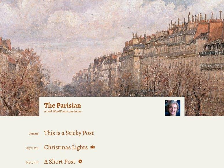 The Parisian テーマのフロントページ
