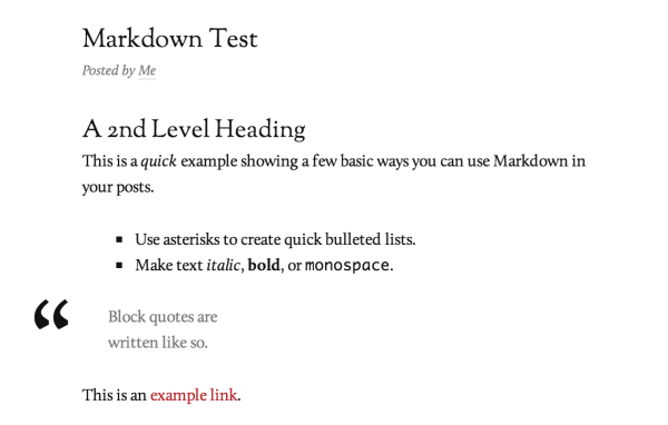 Markdown Example shown in the Reddle theme
