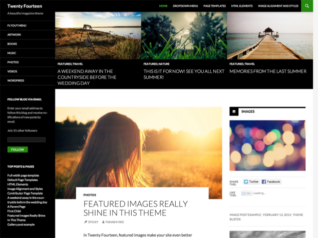 Twenty Fourteen, the new default theme for WordPress.com.