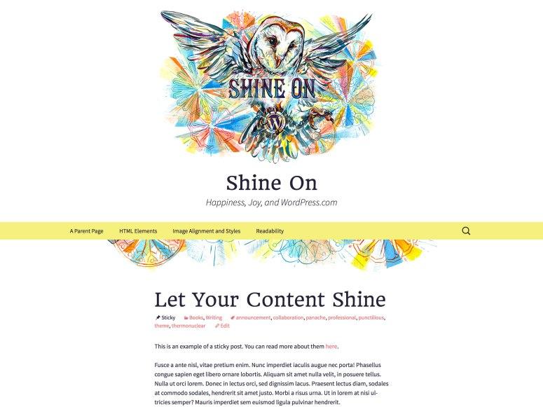 Shine On テーマのトップページ
