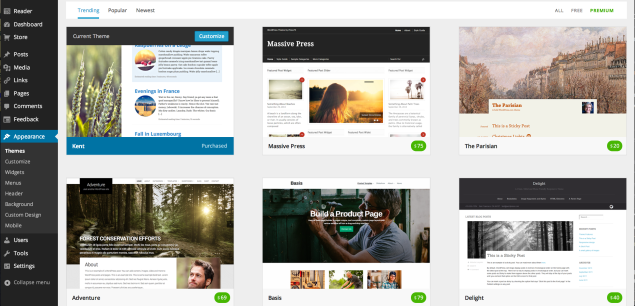A more visual experience: sleeker display and bigger theme screenshots.
