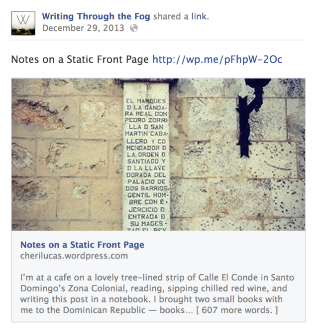 A blog post publicized on Facebook using the default copy (post title).