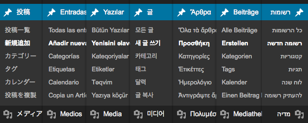 WordPress.com Menu in 7 Languages