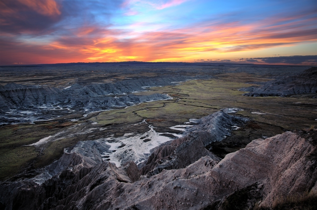 South Dakota badlands sunset.