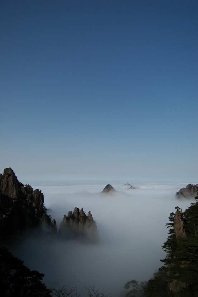 A misty morning in the Huang Shan mountains.
