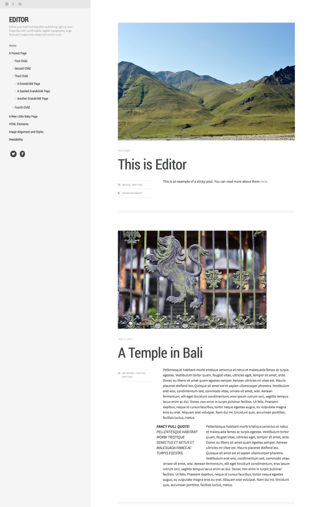 Editor theme: simple two column layout, lightly colored with left sidebar