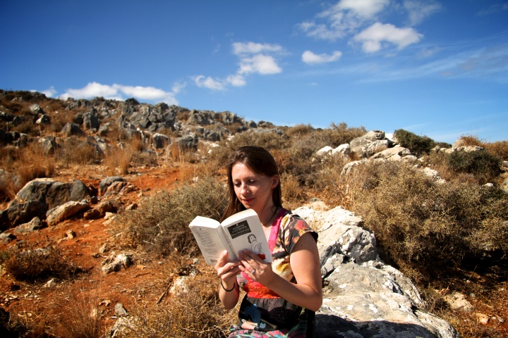 The author, reading in Crete.