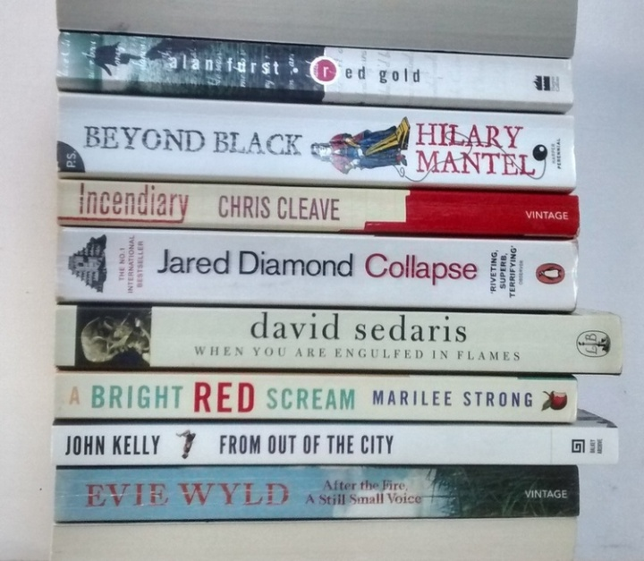 Spine poem by Stan Carey